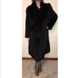 SAGA FOX Fur Coat Size Large Womens Black